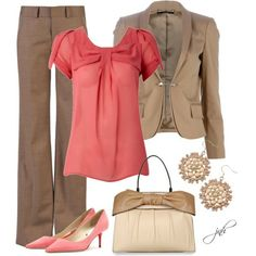 I like the coral with the brown and tan.