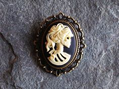 Skeleton cameo brooch small brooch black and by DelicateIndustry1