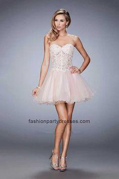 La Femme 22826 Embroidered Illusion A-Line Corset Mini Dress