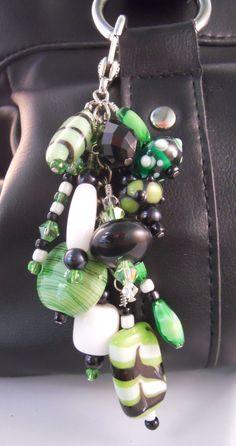 Emerald Green & Black Lampworked Purse Fob Zipper by TsCornerStore, $14.95