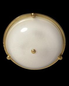 Marvin Alexander,Inc. Gilded bronze and ribbed glass flushmount with button, three lights