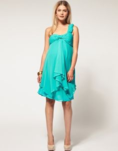 $47 ASOS MATERNITY Exclusive Chiffon Pleated Bust One Shoulder Dress turquoise or light pink blush
