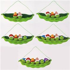 Peas-in-a-Pod Christmas Ornaments - Personalized Seasonal Gifts | Lillian Vernon