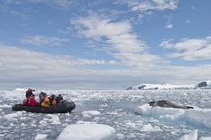 Sail amid glaciers to south of the Antarctic Circle—explore scenery and huge penguin colonies on shore and by Zodiac.