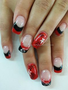 Nail Art Photo Taken at:14/09/2013 12:36:32 Nail Art Photo Uploaded at:15/09/2013 07:38:32 Nail Technician:Elaine Moore Description: red black and white nail art over gel nails  @ www.eyecandynails.co.uk