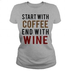 Coffee and Wine - #blue hoodie #short sleeve shirts. I WANT THIS => https://www.sunfrog.com/Drinking/Coffee-and-Wine-Sports-Grey-Ladies.html?60505