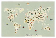Monde carte grosse impression
