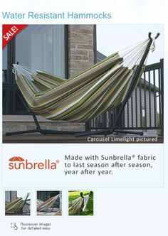 Our top choice to challenge the elements this year is Vivere's Hammock combo featuring Sunbrella® fabric. This double hammock is made with Sunbrella® fabric to last season after season, year after year. It is as comfortable as cotton, creating the perfect refuge for an afternoon snuggle. And this year we introduce an elegant new colour - Carousel Limelight.