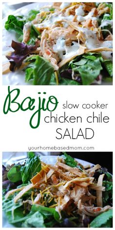Copycat Bajio Chicken Chile Salad - better than the real thing! Awesome crockpot recipe.