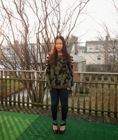 Wearing #emerald + #camo -- #fashion #style #outfit #blogger