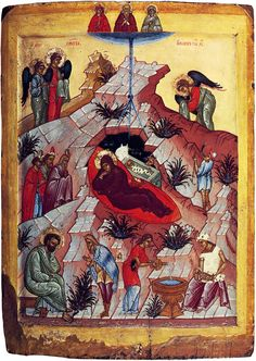 """""""The Word became flesh"""", by St. John of Kronstadt  Christ is born! Glorify Him!  Icon of the Holy Nativity of Christ (http://www.icon-art.info/hires.php?lng=ru=1=572)"""