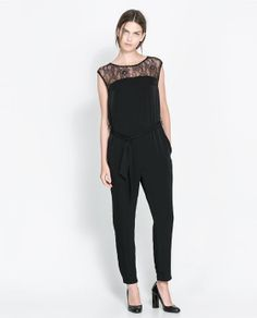 Image 1 of JUMPSUIT WITH LACE YOKE from Zara super modern jumpsuit add some sexy stiletto sandals