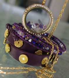 """Eggplant wrap with the new violet crystal wrap from South Hill Designs - Please LIKE my page on Facebook for other locket ideas, as well as special promotions. https://www.facebook.com/bellaslocketjewelry.  Create your own """"STORY"""" today..."""