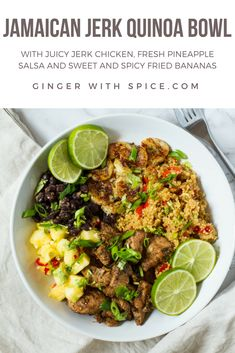 Jamaican Jerk Chicken Quinoa Bowl with Pineapple Salsa and Spicy Fried Bananas - it is as delicious as it sounds. Click to find the recipe! #jamaican #jerk #chicken #quinoa #recipe #food #dinner #caribbean