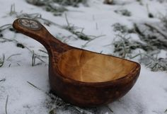 Cup made from birch with inlay of reindeer horn