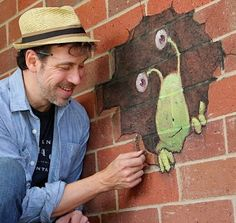 David Zinn With Sluggo at Hole John DR Elementary School.
