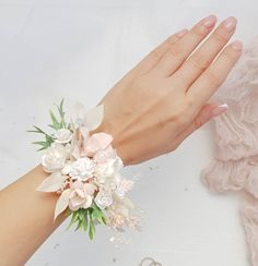 Oval Moissanite Engagement Ring yellow gold engagement ring curved wedding band Cluster Bridal Jewelry Promise Anniversary gift for women - Fine Jewelry Ideas Wrist Corsage Wedding, Bridesmaid Corsage, Flower Bouquet Wedding, Prom Flowers, Blush Flowers, Simple Flowers, Dried Flowers, Corsage And Boutonniere, Flower Corsage