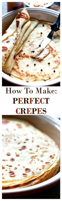 How to make perfectly delicate, thin, fluffy Crepes! Get the recipe on diethood.com