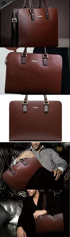 ff7b4aa3a4 Cool Leather mens Briefcase laptop Briefcase Work Shoulder Bag Business Bag  for Men