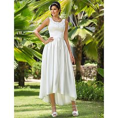 Lanting+A-line/Princess+Plus+Sizes+Wedding+Dress+-+Ivory+Asymmetrical+Scoop+Satin+–+USD+$+79.99