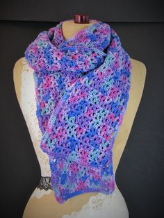 """Long Cotton Scarf in Purple & Pink Multi-Color ~ Crochet, Handmade ~ Sensitive Skin, Girly Girl  Brand new handmade item  - Multi-colored scarf with purple, pink, blue and green - Material: 100% cotton yarn - Great for sensitive skin and wool allergies!  - Cotton has a nice weight to it and transitions easily from fall to winter - Measurements: 6 feet (72"""") long x 6.5"""" wide"""