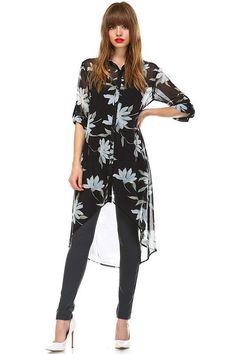 Over Size Flower Long High Low Button Down Shirt Semi Sheer  #FashioneNation…