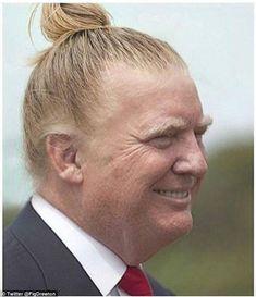 Donald Trump's blonde hair transformed into a hipster 'man bun' in ...
