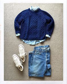 Today's Outfit. #Inverallan 1H Cotton Indigo Denim Aran Sweater #RalphLauren Chambray BD-Shirt 60's #Levis #501xx #BigE #Converse #ChuckTaylor #CT70 #OutFitoftheDay #OutFitGrid #OOTD #DailyFashion #Cordinate #Vintage #Fashion #FashionPost #ファッション #コーディネート #インバーアラン #ラルフローレン #リーバイス #コンバース