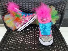 Trolls Birthday Party, Troll Party, Birthday Party Outfits, 2nd Birthday Parties, Birthday Ideas, Custom Converse, Custom Shoes, Converse Shoes, Jojo Siwa Birthday