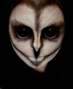 WOW! What awesome special effect 'Owl' makeup idea. It doesn't get better than this... and to bring out the full effect with black sclera contacts really makes this work ~ http://www.pinterest.com/pin/350717889705707881/