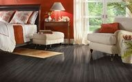 Get a dramatic and modern bedroom look with this Armstrong Floors Laminate: Black Forest.