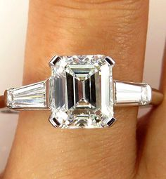 2.50CT ESTATE VINTAGE EMERALD CUT DIAMOND ENGAGEMENT WEDDING RING PLAT EGL USA #SolitairewithAccents