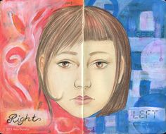 Left brain right brain visual journal Ink, color pencils and gouache in a Moleskine sketchbook