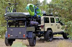 Jeep Wrangler Discover Freespirit Recreation: Overlander Trailer Freespirit Recreation: Journey Off Road Trailer Trailer Off Road, Kayak Trailer, Trailer Build, Off Road Utility Trailer, Camping Jeep, Off Road Camping, Motorcycle Camping, Camping Cabins, Accessoires Camping Car