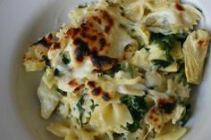 baked pasta with spinach and artichokes