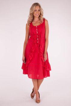 Boo Radley Ruffle Tie Up Dress - Womens Calf Length Dresses - Birdsnest Fashion Clothing