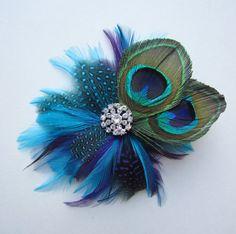 Peacock Feather Hair Clip Wedding Hair Accessory by babywhatknots, $19.00