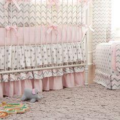 Pink and Gray Chevron Crib Skirt 18-Inch 3-Tiered #carouseldesigns