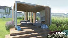 Minimalizm w Rzeszotarach: styl , w kategorii zaprojektowany przez MOSS Architektura krajobrazu Outdoor Shades For Porch, Garden Structures, Outdoor Structures, Outdoor Tiles, Outdoor Decor, Porch Lattice, Tiered Garden, Porch Posts, Halloween Porch