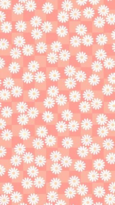 Phone wallpaper, background. 'orange check with daisies' (1)