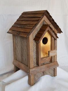 Barn wood bird house with a bronze partial front. Decorative Bird Houses, Bird Houses Painted, Bird Houses Diy, Bird House Plans, Bird House Kits, Homemade Bird Houses, Bird House Feeder, Bird Feeders, Birdhouse Designs