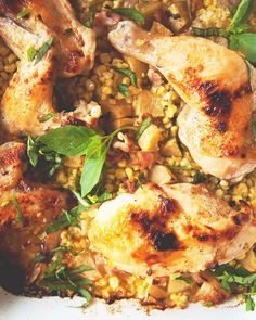 Roasted Chicken With Corn, Bacon, Basil, and Apple