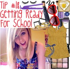 """Tip #18 Getting Ready For School"" by lijetaime ❤ liked on Polyvore"