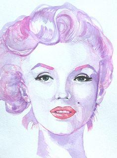 Marilyn Monroe Watercolor Print. | This image first pinned to Marilyn Monroe Art board, here: http://pinterest.com/fairbanksgrafix/marilyn-monroe-art/ || #Art #MarilynMonroe
