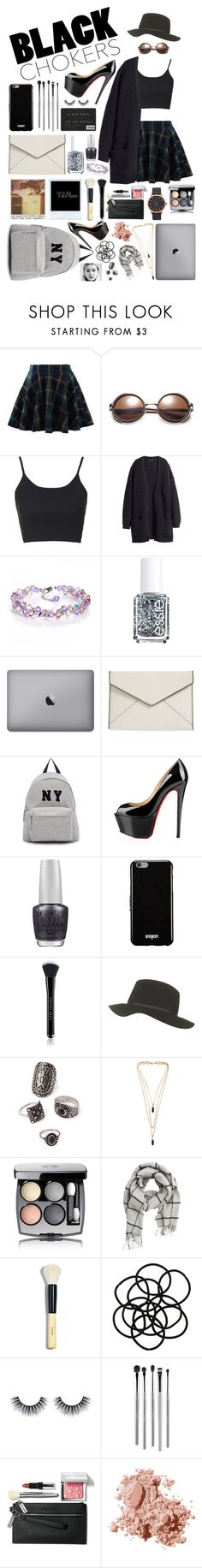 """Black chokers! #106"" by worldofflowers ❤ liked on Polyvore featuring Chicwish, Topshop, H&M, Essie, Rebecca Minkoff, Joshua's, Christian Louboutin, OPI, Givenchy and Marc Jacobs"