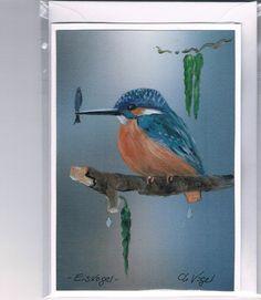 Grüße - Grußkarte - Eisvogel, handgemalt - ein Designerstück von Vogelmalerin…