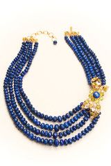 Multi Strands of Lapis, White Topaz, and Peridot Necklace by Bounkit | Bounkit