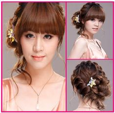 Long Wavy Hair with Thick Fringe and Braided Rose Bun