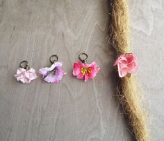 Shades of Pinks & Purples Flower Dangle Charm Bead Antiques Brass  Dreadlock Accessory Extension Accessories Dread Boho Bohemian Hippie