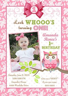 Owl - Sweet Pink 1st Birthday Invitation (Digital File)